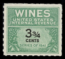 U.S. Scott #RE115, 1942 3 3/4c Wine Stamp