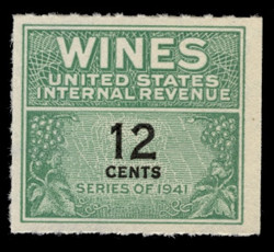 U.S. Scott #RE125, 1942 12c Wine Stamp