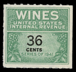 U.S. Scott #RE135, 1942 36c Wine Stamp