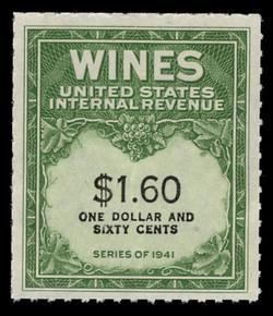U.S. Scott #RE149, 1942 $1.60 Wine Stamp