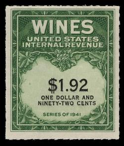 U.S. Scott #RE152, 1942 $1.92 Wine Stamp