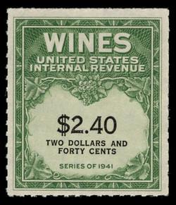 U.S. Scott #RE153, 1942 $2.40 Wine Stamp