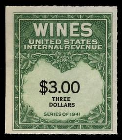 U.S. Scott #RE154, 1942 $3.00 Wine Stamp