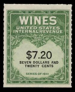 U.S. Scott #RE160, 1942 $7.20 Wine Stamp