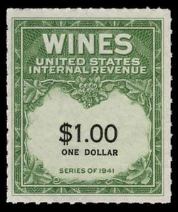 U.S. Scott #RE173, 1949 $1.00 Wine Stamp