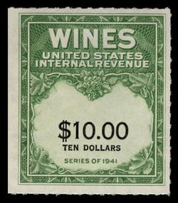 U.S. Scott #RE180, 1949 $10.00 Wine Stamp
