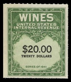 U.S. Scott #RE181, 1949 $20.00 Wine Stamp