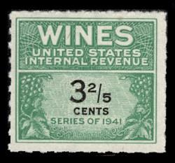 U.S. Scott #RE183, 1951 3 2/5c Wine Stamp