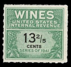 U.S. Scott #RE185, 1951 13 2/5c Wine Stamp