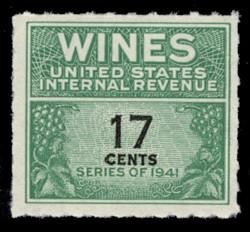 U.S. Scott #RE186, 1951 17c Wine Stamp