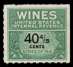 U.S. Scott #RE190, 1951 40 4/5c Wine Stamp