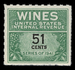 U.S. Scott #RE191, 1951 51c Wine Stamp