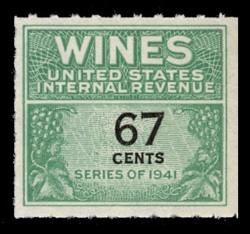 U.S. Scott #RE192, 1951 67c Wine Stamp
