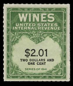 U.S. Scott #RE199, 1951 $2.01 Wine Stamp