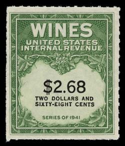 U.S. Scott #RE200, 1951 $2.68 Wine Stamp