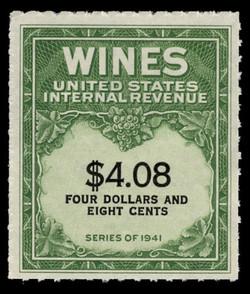 U.S. Scott #RE201, 1951 $4.08 Wine Stamp