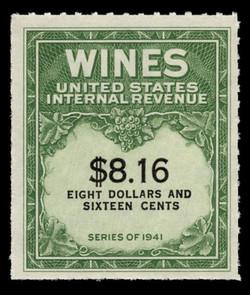 U.S. Scott #RE203, 1951 $8.16 Wine Stamp