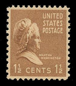 U.S. Scott # 805, 1938 1 1/2c Martha Washington