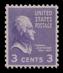 U.S. Scott # 807, 1938 3c Thomas Jefferson