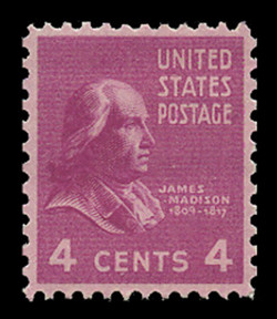 U.S. Scott # 808, 1938 4c James Madison