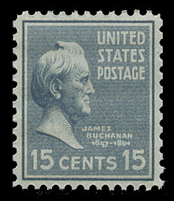 U.S. Scott # 820, 1938 15c James Buchanan