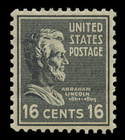 U.S. Scott # 821, 1938 16c Abraham Lincoln