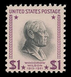 U.S. Scott # 832c, 1954 $1 Woodrow Wilson Re-Issue (Red Violet & Black)