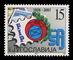 YUGOSLAVIA Scott # 2537, 2001 Int'l Federation of Philately (FIP), 75th Anniversary