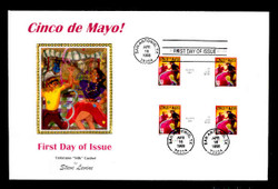 U.S. Scott #3203 32c Cinco de Mayo Press Sheet First Day Cover.  Steve Levine/Colorano cachet, Vetical Gutter Pairs