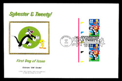 U.S. Scott #3204 32c Sylvester & Tweety Press Sheet First Day Cover.  Steve Levine/Colorano cachet, Pair with Horizontal Gutter (See Warranty)