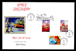 U.S. Scott #3238 Space Discovery, Press Sheet First Day Cover.  Steve Levine/Colorano cachet,  PAIR with Horizontal Gutter in COMBO with Flash Gordon (#3000p) (See Warranty)