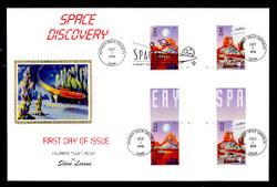U.S. Scott #3238 Space Discovery, Press Sheet First Day Cover.  Steve Levine/Colorano cachet, Cross-Gutter Block