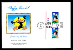 U.S. Scott #3306 33c Daffy Duck Press Sheet First Day Cover.  Steve Levine/Colorano cachet, Pair with Horizontal Gutter (See Warranty)