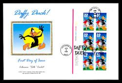 U.S. Scott #3306 33c Daffy Duck  Press Sheet First Day Cover.  Steve Levine/Colorano cachet. Plate # Block of 6.