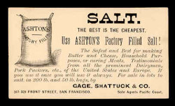 Ashton's Factory-Filled Salt Advertising Postal Card (On Scott #UX7) - Est. period of use, 1880s.