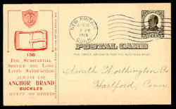 Anchor Brand Buckles Advertising Postal Card (On Scott #UX20) - Est. period of use, 1913.