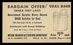 Webb Mfg. Gov't Surplus Coal Bags Advertising Card (On Scott #UX27) - Est. period of use, mid-1940s.