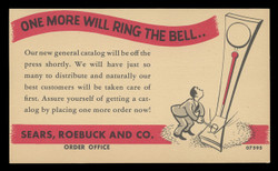 Sears Roebuck Catalog Advertising Card (On Scott #UX27) - Est. period of use, mid-1940s.