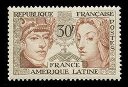 FRANCE Scott #  795, 1956 France - Latin American Friendship