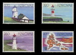 FAROE ISLANDS Scott # 130-3, 1985 Lightghouses and Map (Set of 4)