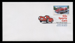 U.S. Scott #3931-5, 2005 37c Sporty Cars SET of 5 First Day Covers.  Digital Colorized Postmarks