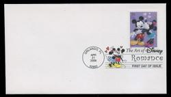 U.S. Scott #4025-8, 2006 39c Disney - Romance SET of 4 First Day Covers.  Digital Colorized Postmarks