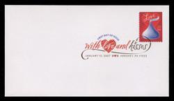 U.S. Scott #4122, 2007 39c Love - Hershey's Kiss First Day Cover.  Digital Colorized Postmark