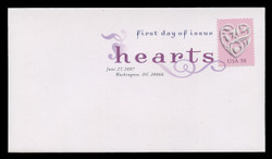 U.S. Scott #4152, 2007 41c Love Hearts - Pink Background First Day Cover.  Digital Colorized Postmark