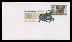 U.S. Scott #4375, 2009 42c Chinese New Year - Ox First Day Cover.  Digital Colorized Postmark
