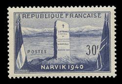 FRANCE Scott #  677, 1952 Battle of Narvik, Norway, 1940