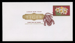 U.S. Scott #4435, 2010 44c Chinese New Year - Tiger First Day Cover.  Digital Colorized Postmark