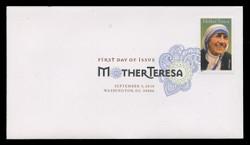 U.S. Scott #4475, 2010 44c Mother Teresa First Day Cover.  Digital Colorized Postmark