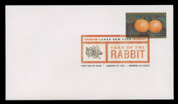 U.S. Scott #4492, 2011 (44c) Chinese New Year - Rabbit First Day Cover.  Digital Colorized Postmark