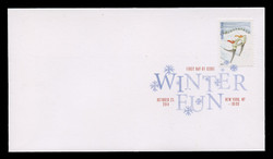 U.S. Scott #4937-40, 2014 (49c) Winter Fun - Long Stamps SET of 4 First Day Covers.  Digital Colorized Postmarks
